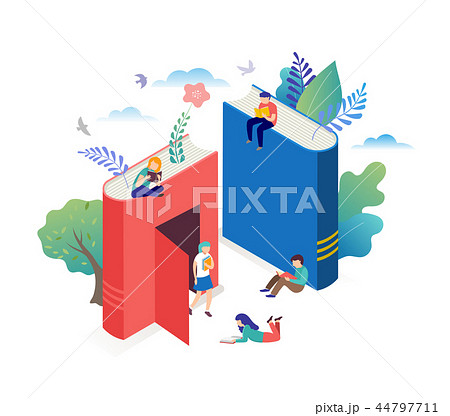 Book festival concept - a group of tiny people reading a huge open book. Vector illustration, poster 44797711