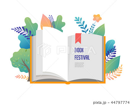 Book festival concept - a group of tiny people reading a huge open book. Vector illustration, poster 44797774