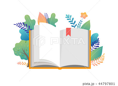 Book festival concept - a group of tiny people reading a huge open book. Vector illustration, poster 44797801