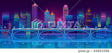 Vector background with night city in neon lights 44801098