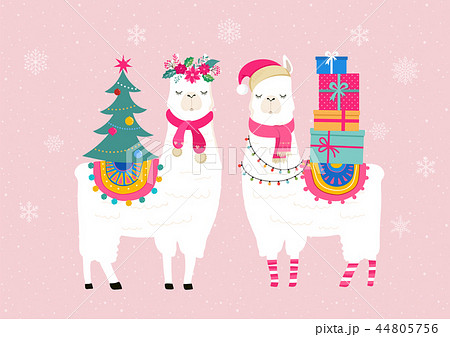 Llama winter illustration, cute design for nursery, poster, Merry christmas, birthday greeting card 44805756