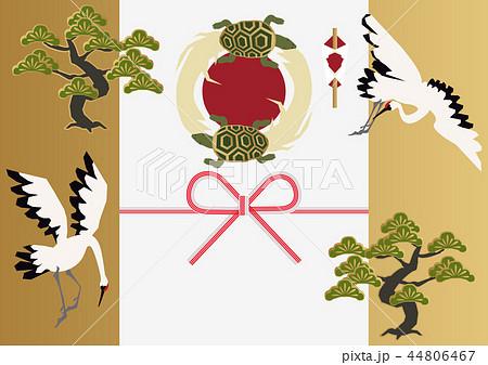 鶴と亀の縁起の良い素材。和柄。鶴亀と松の素材集。 44806467