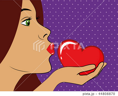 young woman with red lips kisses a red heart pop art 44808870