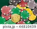 Bitcoin on scattered casino chips on green table 44810439