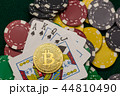Casino chips, bitcoin and poker cards  44810490