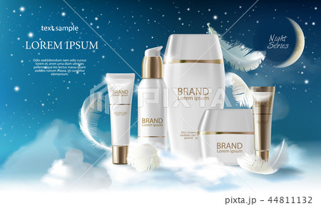Skin care cream night series. Jar, spray, container with cosmetic cream on night background with 44811132