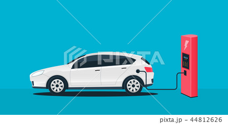 Creative vector illustration of electric charging future car, charger station isolated on 44812626