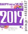 年賀状 はがきテンプレート 年賀2019のイラスト 44818587