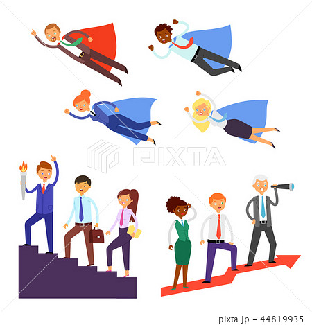 Team leader vector businessman or businesswoman character super hero leading corporate teamwork 44819935