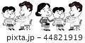 予防接種  親子 モノクロ イラスト 44821919