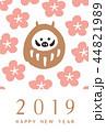 年賀状 花満開 だるま 花フレーム 44821989