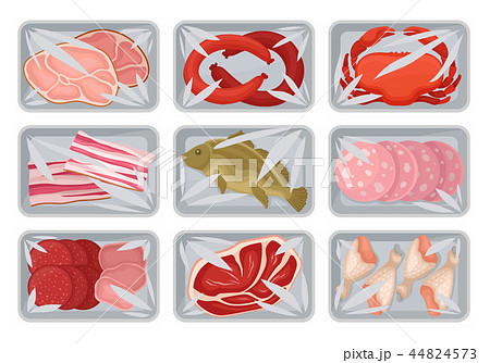 Packages with fresh meat, seafood, chicken set, food plastic trays containers with transparent 44824573