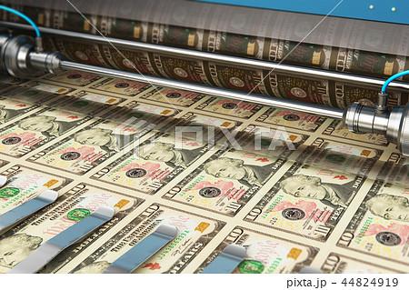 Printing 10 US dollar USD money banknotes 44824919