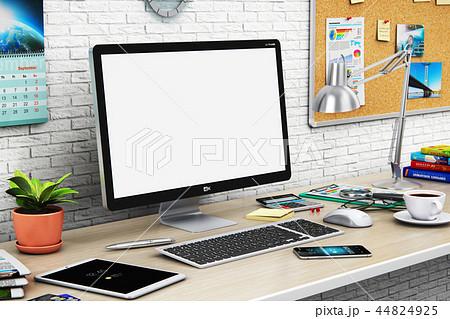 Desktop computer blank screen in modern workspace 44824925