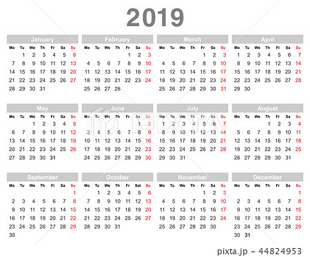 2019 year annual calendar (Monday first, English) 44824953