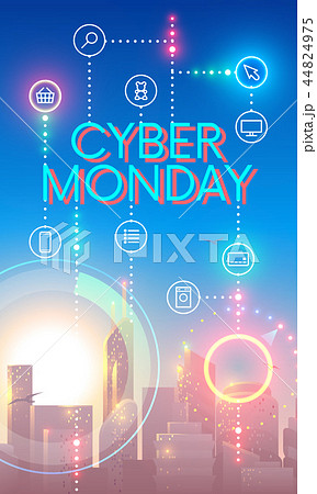 Cyber Monday concept banner in futuristic style. City landscape in sun rays. Icons of internet or 44824975