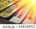 Gold and platinum credit cards close up 44826952