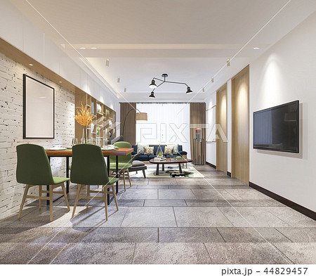 Modern Dining Room And Living Room With Decor