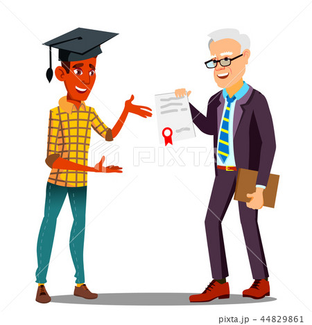 Rector Presenting Diploma To Happy Student In Graduate Cap Vector. Isolated Illustration 44829861