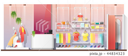 Interior scene of modern women clothing store 44834323