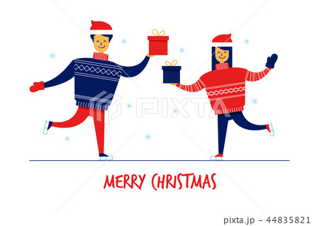 Flat cartoon family characters in sweaters with gift boxes,Merry Christmas New Year greeting card 44835821