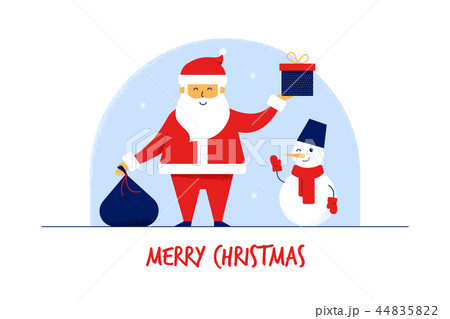 Modern flat cartoon characters Santa Claus with gift bag,Snowman,Merry Christmas New Year greeting 44835822