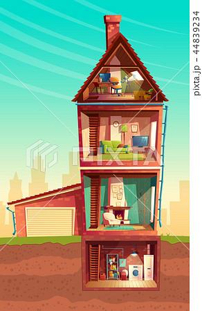 cartoon multistorey house in cross section 44839234