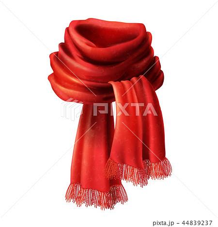 3d realistic silk, velvet red scarf 44839237