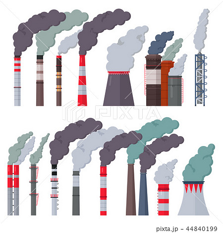 Industry factory vector industrial chimney pollution with smoke in environment illustration set of 44840199