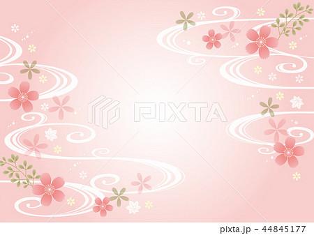 淡い桜と波の和柄横 44845177