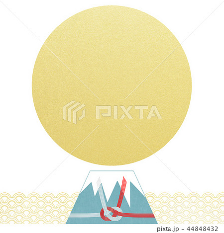 和-背景-富士山-日の出-和風-和柄-正月-年賀-水引 44848432