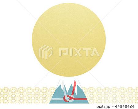 和-背景-富士山-日の出-和風-和柄-正月-年賀-水引 44848434