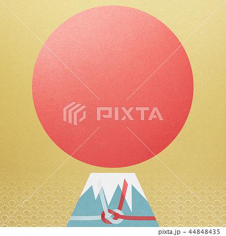 和-背景-富士山-日の出-和風-和柄-正月-年賀-水引 44848435