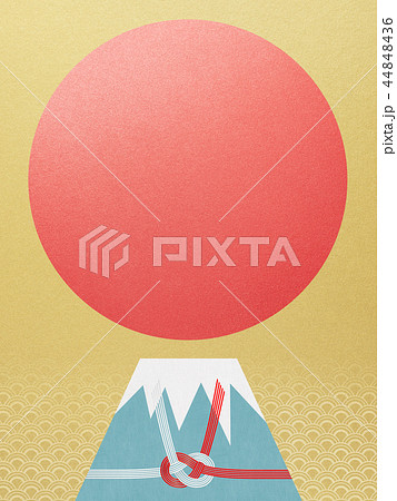 和-背景-富士山-日の出-和風-和柄-正月-年賀-水引 44848436