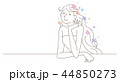 女性 ロングヘア イメージ イラスト  44850273