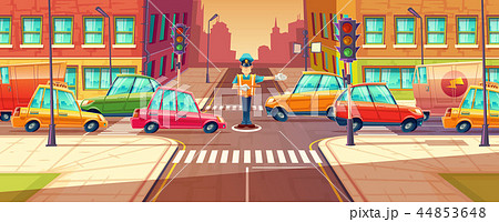 illustration of adjusting city crossroads in rush hour, traffic jam, transport moving, vehicles by 44853648