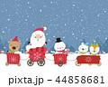 Happy Cute Santa snowman christmas cartoon  44858681