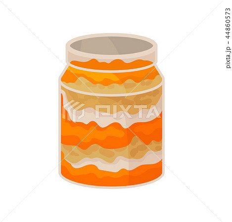 Glass jar with homemade pumpkin dessert vector Illustration on a white background 44860573
