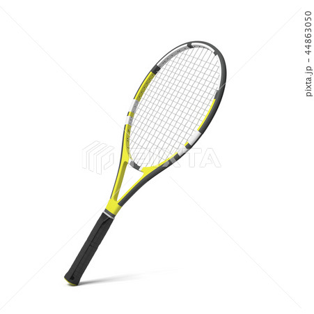 3d rendering of a professional tennis racquet with black and yellow stripes. 44863050