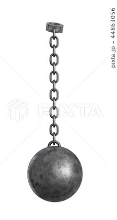 3d rendering of a heavy iron ball connected with a chain to a round shackle. 44863056