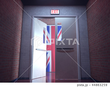 Glowing Red Exit Sign United Kingdom 44863259