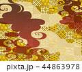 金の波と赤の和柄の背景 44863978