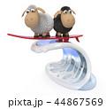 3d illustration funny sheep surf 44867569