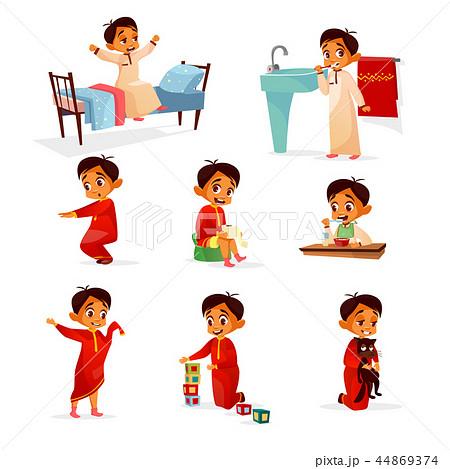 Muslim boy kid daily routine cartoon illustration 44869374
