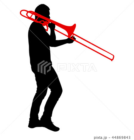 Silhouette of musician playing the trombone 44869843