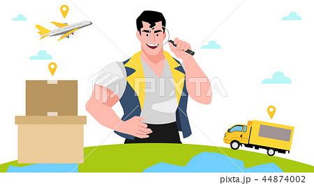 Concept for express delivery service, Courier and delivery man character vector illustration. 008 44874002