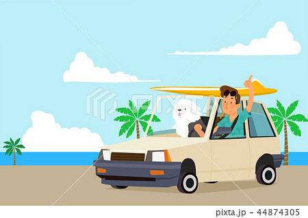 Vector - Holidays vacation with a pet, Summertime travel concept vector illustration. 001 44874305
