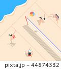 浜辺 ビーチバレー スポーツのイラスト 44874332