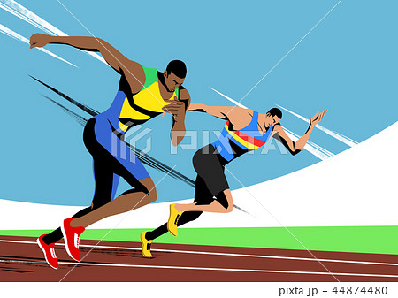 Various sports players with dynamic colorful scratched vector illustration 010 44874480