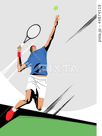 Various sports players with dynamic colorful scratched vector illustration 023 44874519